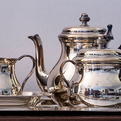 Illustrative image of silver tea service